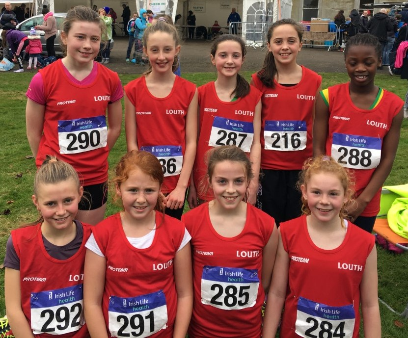 Louth U12 Girls' team at Irish Cross Country Championships (Abbotstown, November 2016)