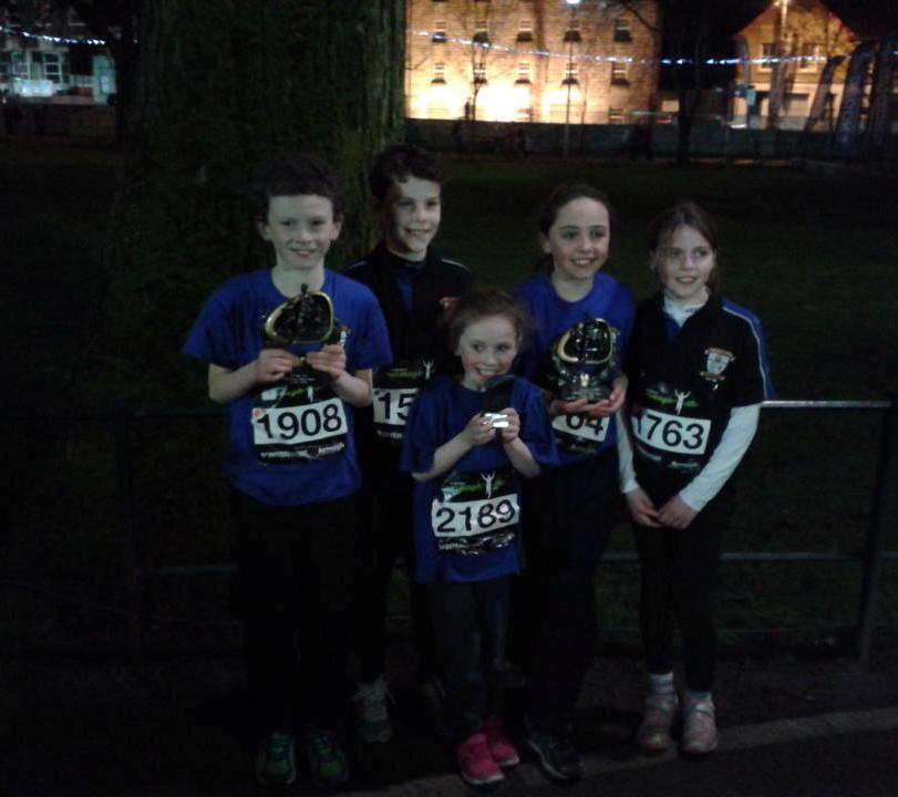 St Peter's AC athletes at Armagh International Road Races (Armagh, February 2015)