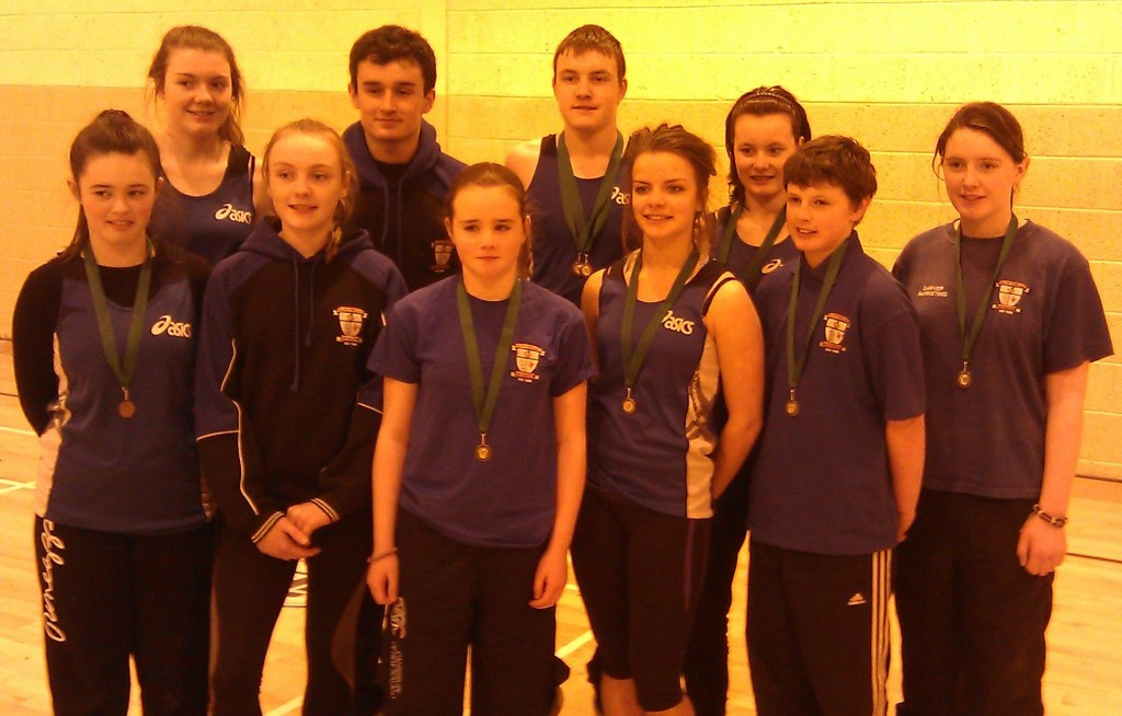 St Peter's AC athletes at Leinster Juvenile Indoor Championships (Athlone, March 2013)