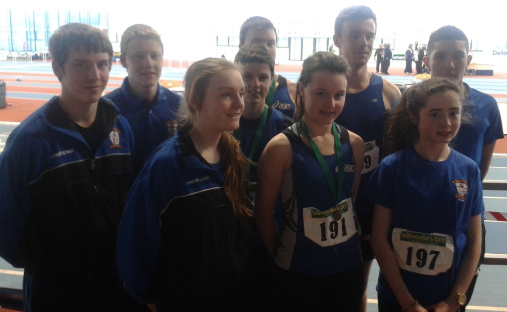 St Peter's AC athletes at Leinster Juvenile Indoor Championships (Athlone, March 2014)