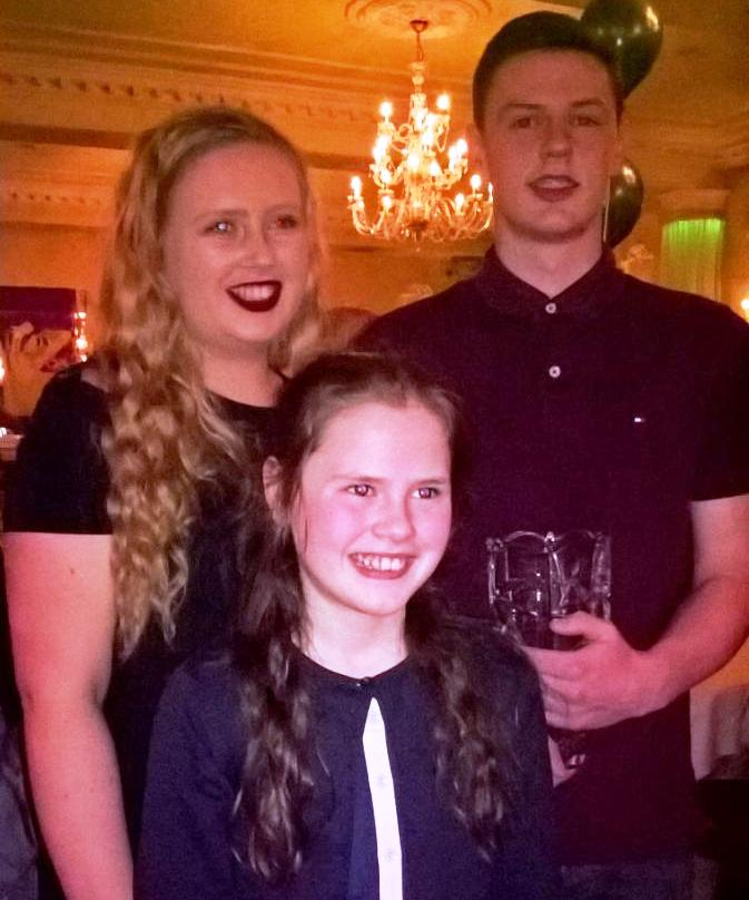 Elizabeth, Judith and Gabriel Bell at Leinster Awards (Carlow, January 2017)