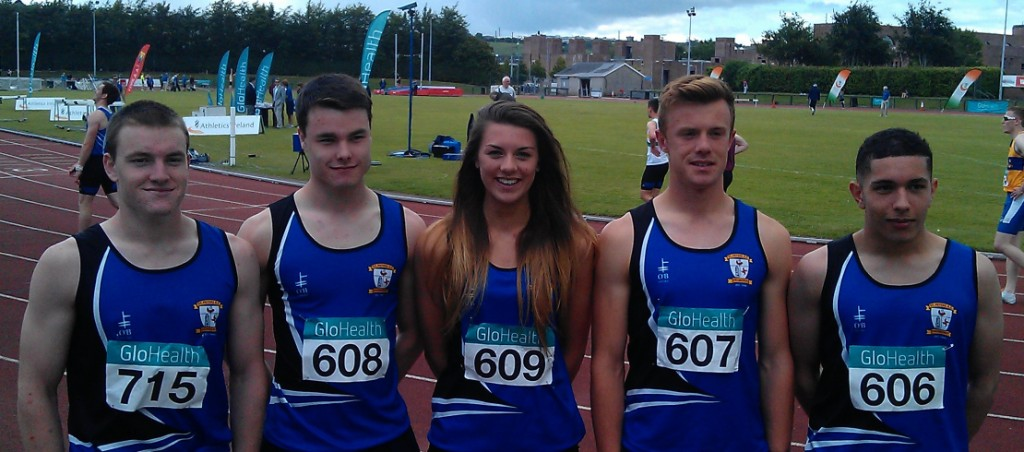 St Peter's AC athletes at Irish Junior & U23 Championships (Cork IT, July 2014)