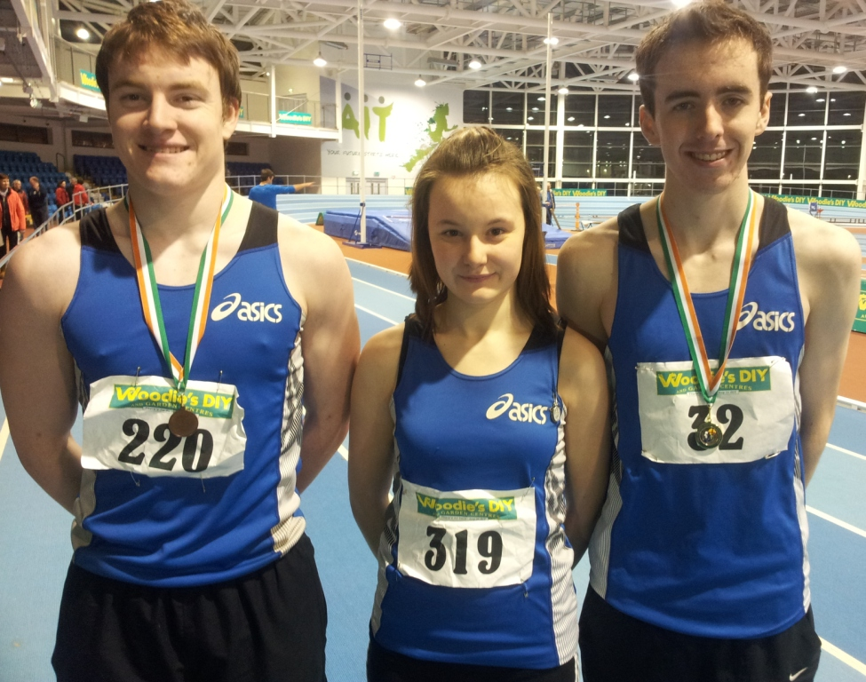 Daniel Finley, Chloe Finley and Conor Durnin at Irish Junior Indoor Championships (Athlone, January 2014)