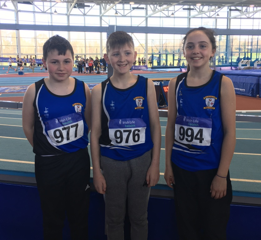Dean Murtagh, Ronan Deery and Niamh Brady at Irish Juvenile Indoor Championships (Athlone, March 2017)