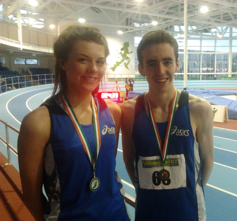 Emily Rogers and Conor Durnin at Irish Senior Indoor Championships (Athlone, February 2013)
