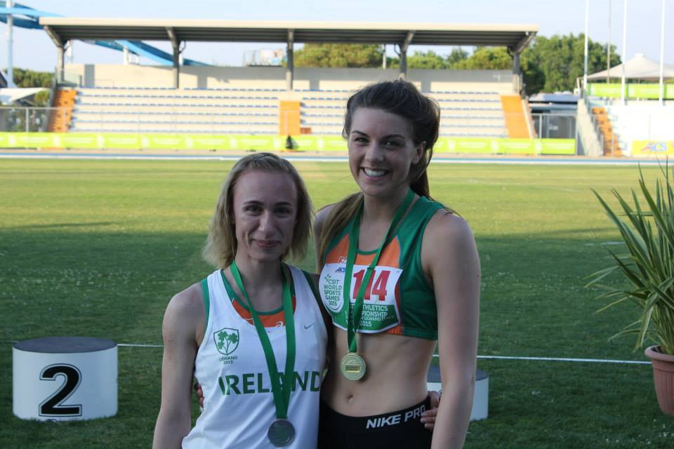 Gold medallist Emily Rogers (on the right) at CSIT World Sports Games (Italy, June 2015)