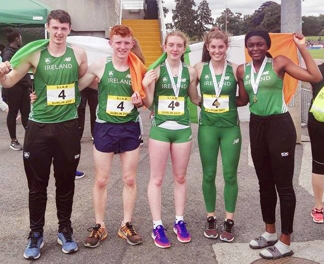 County Louth athletes (including Gabriel Bell on the left) at Anglo-Celtic Schools' International (Santry, July 2017)
