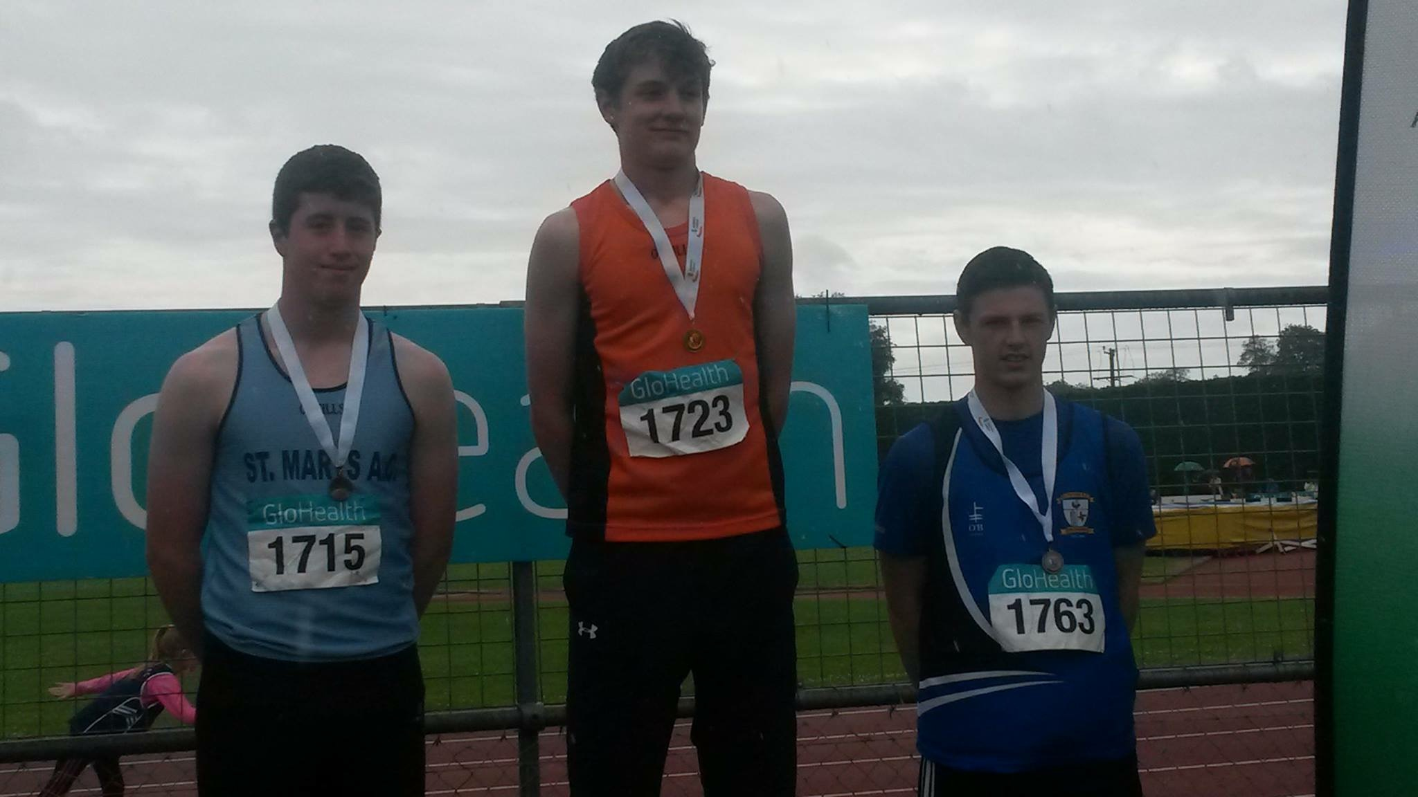 Gabriel Bell (on the right) at Irish Juvenile Combined Events' Championships (Tullamore, June 2015)