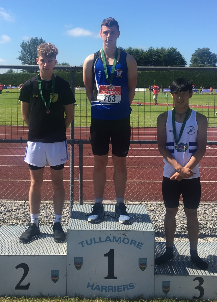 Gabriel Bell (in the centre) at Leinster Juvenile Championships (Tullamore, June 2017)