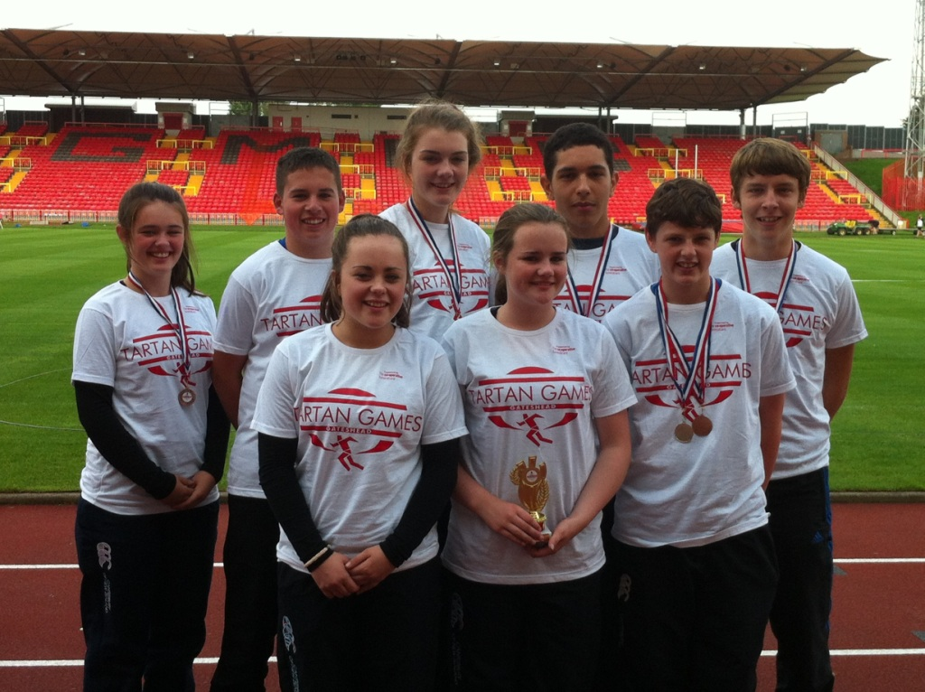 St Peter's AC juvenile athletes at Tartan Games (Gateshead, August 2013)