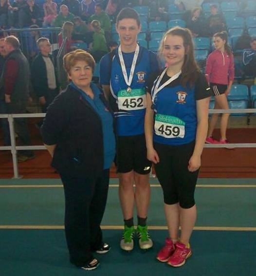 Kathleen McConnell, Gabriel Bell and Katie Murphy at Irish Juvenile Indoor Championships (Athlone, March 2015)