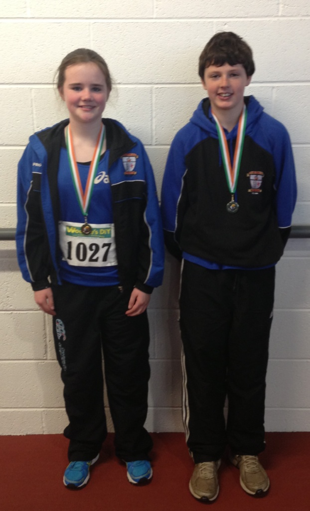 Katie Murphy and Gabriel Bell at Irish Juvenile Indoor Championships (Athlone, March 2013)