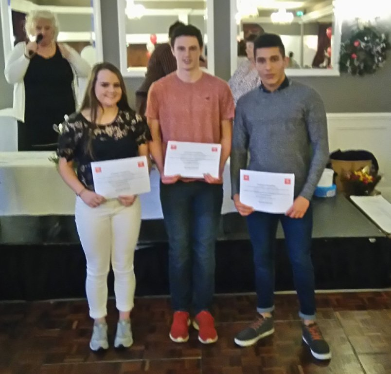 Katie Murphy, Gabriel Bell and Martin McGrane at Athletics Louth Awards Night (Drogheda, November 2015)