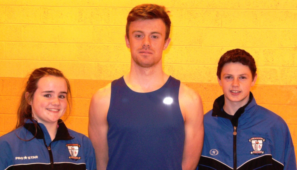 Daniel Finley, Chloe Finley and Conor Durnin at Irish Juvenile Indoor Championships (Athlone, March 2014)