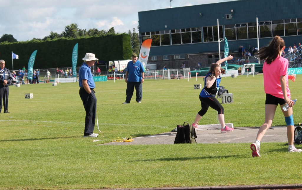 Katie Murphy in action at Irish Juvenile Championships (Tullamore, July 2014)