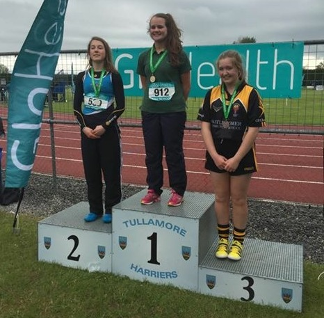 Katie Murphy (gold medallist) at Irish Schools' Championships (Tullamore, May 2015)