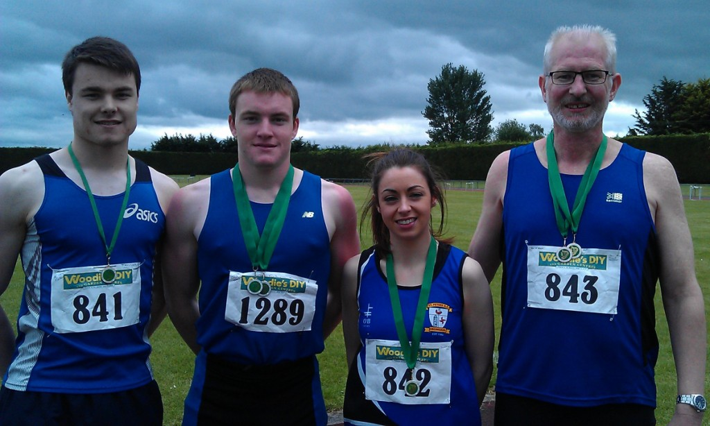 Aaron Finley, Daniel Finley, Olivia McDonald and Tom McGrane at Leinster Senior & U23 Championships (Tullamore, June 2014)
