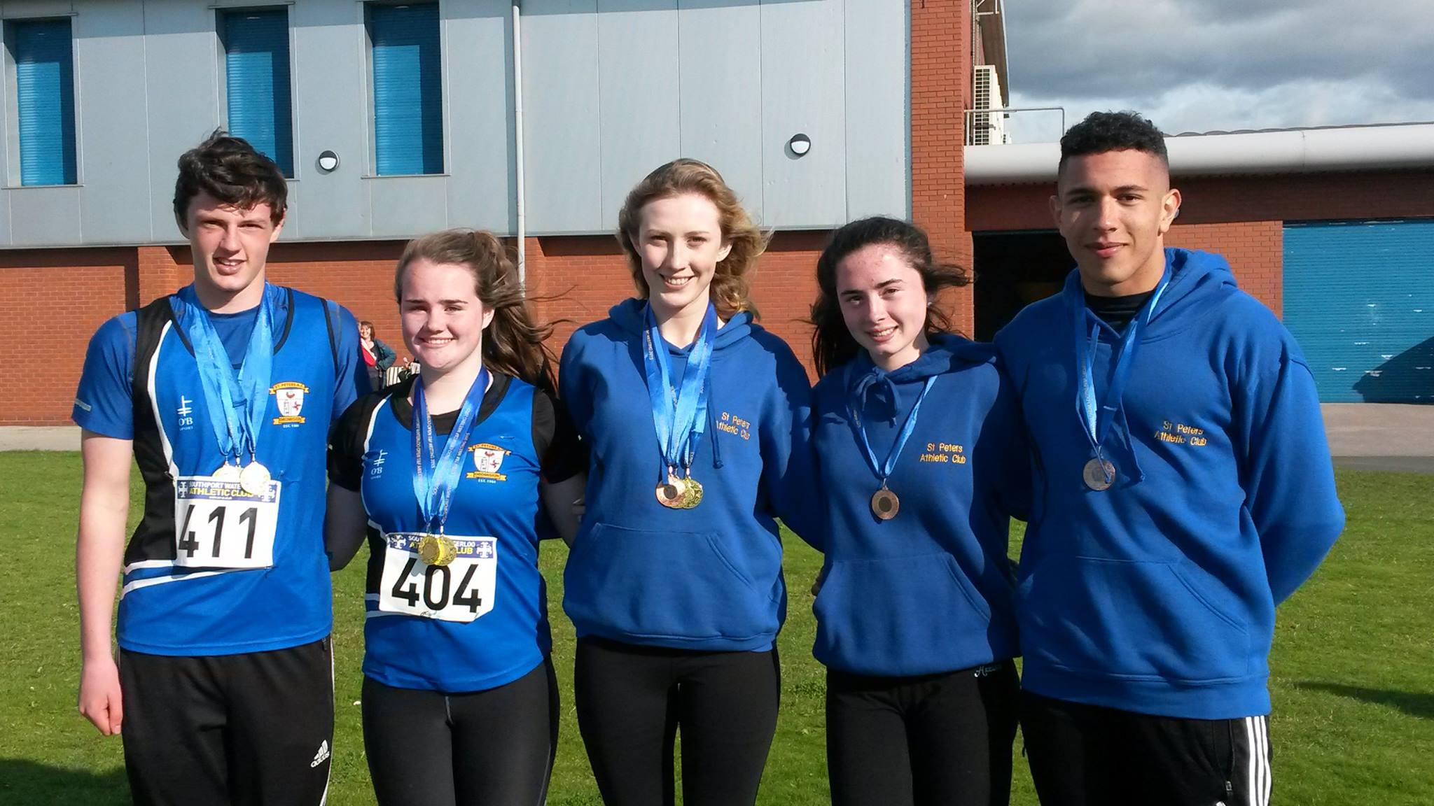 St Peter's AC teenage athletes at Southport Waterloo AC Open Meet (Liverpool, September 2015)