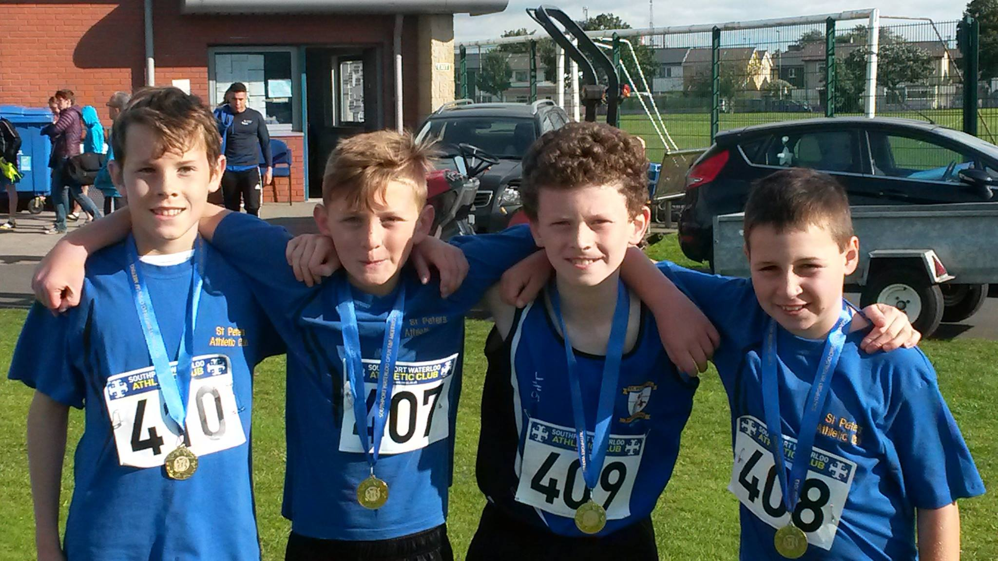St Peter's AC U13 Boys' 4x100m team at Southport Waterloo AC Open Meet (Liverpool, September 2015)