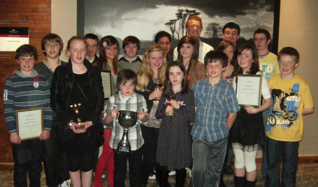 St Peter's AC athletes at Athletics Louth Awards Night (Dundalk, November 2010)