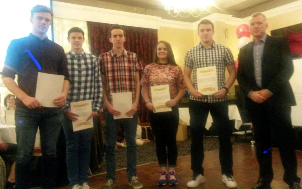 St Peter's AC athletes at Athletics Louth Awards Night (Drogheda, November 2014)