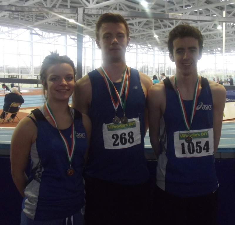 Niamh Fussey, Mark Rogers and Conor Durnin at Irish Juvenile Indoor Championships (Athlone, March 2013)