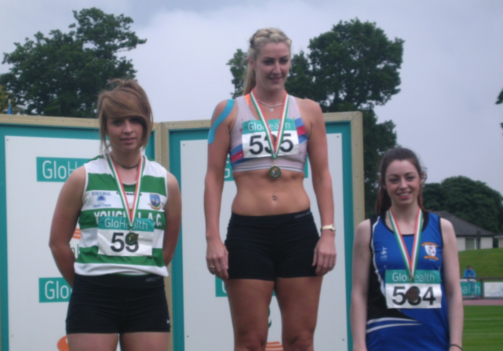 Olivia McDonald (on the right) at Irish Senior Championships (Santry, July 2014)