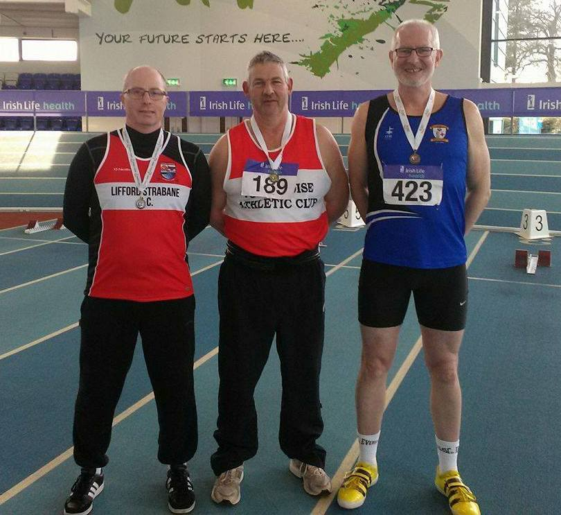 Tom McGrane (on the right) at Irish Masters' Indoor Championships (Athlone, March 2017)